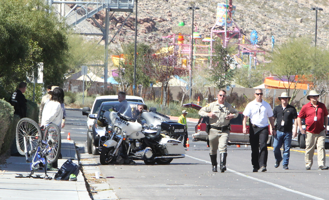 Police are investigating a collision that critically injured a juvenile pedestrian Wednesday, March 9, 2016, at South Fort Apache Road and West Arby Avenue, near Wet 'n' Wild Las Vegas. (Bizuayehu ...