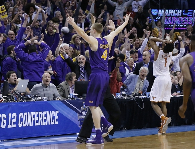 Northern Iowa guard Paul Jesperson gestures to fans after hitting the game-winning shot against Texas in a first-round men's college basketball game in the NCAA Tournament, Friday, March 18, 2016, ...