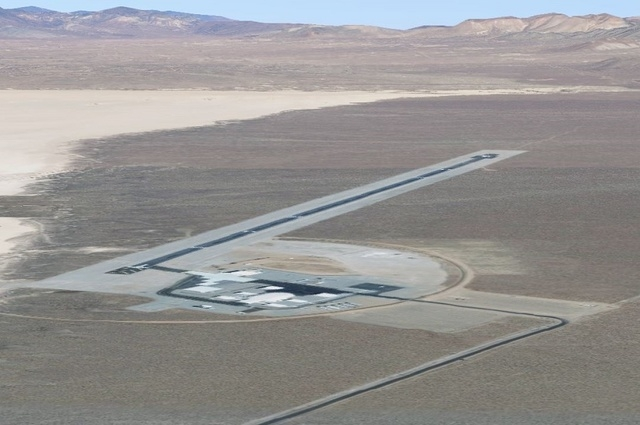 The Area 6 runway stretches for about 5,000 feet in a remote location of the Nevada National Security Site in this Google Maps image.