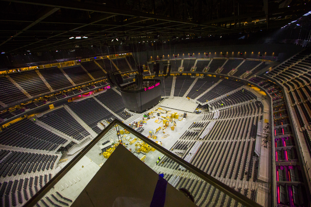 A view of T-Mobile Arena is seen from Hyde Lounge on Thursday, March 24, 2016. Jeff Scheid/Las Vegas Review-Journal Follow @jlscheid