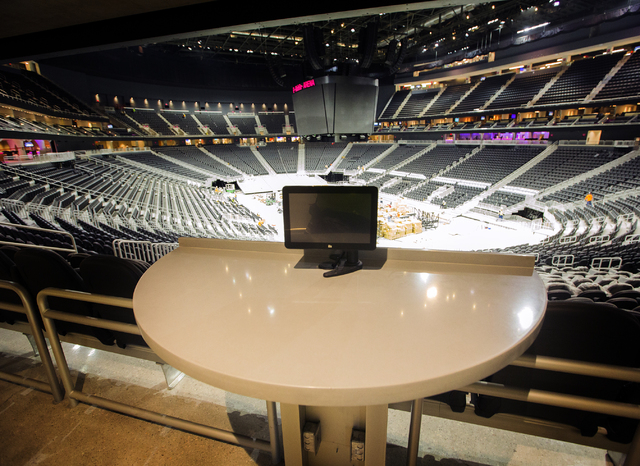 A monitor lets costumers watch tv and order food and drinks is seen at T-Mobile Arena on Thursday, March 24, 2016. Jeff Scheid/Las Vegas Review-Journal Follow @jlscheid