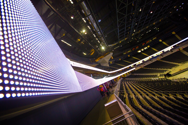 Lighted digital lighting wraps around the inside of the T-Mobile Arena on Monday, March 28, 2016. The Killers will open the arena with a concert on April 6. Jeff Scheid/Las Vegas Review-Journal Fo ...