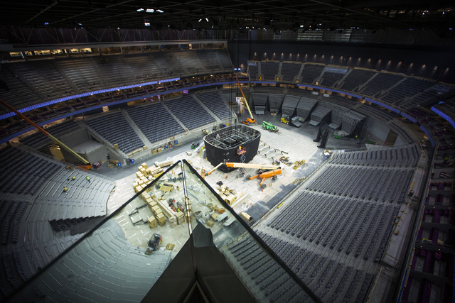 The view from Hyde Lounge at the T-Mobile Arena behind New York-New York is seen Monday, Feb. 29, 2016. The joint venture partners AEG and MGM Resorts is scheduled to open the arena next month. Je ...