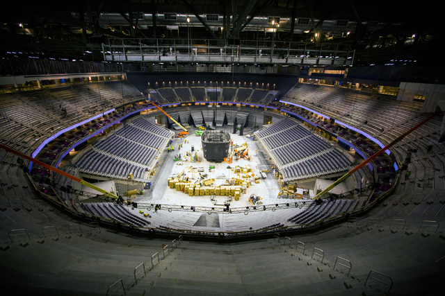 The view from Hyde Lounge at  the T-Mobile Arena behind New York-New York is seen Monday, Feb. 29, 2016. The joint venture partners AEG and MGM Resorts is scheduled to open the arena next month. J ...