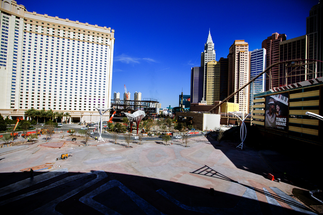 """An exterior view of  Toshiba Plaza and """"The Park"""" leading to the T-Mobile Arena behind New York-New York is seen Monday, Feb. 29, 2016. The joint venture partners AEG and MGM Res ..."""