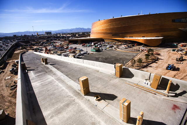 The under construction parking ramp leading to New York-New York is seen Monday, Feb. 29, 2016. The joint venture partners AEG and MGM Resorts is scheduled to open the T-Mobile Arena next month. J ...