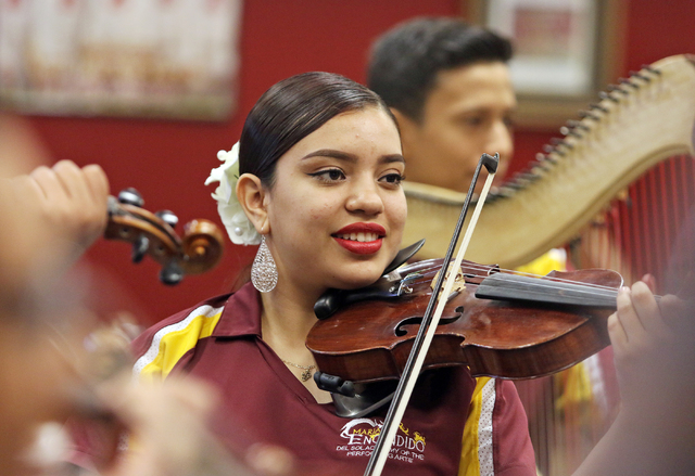 Alejandra Hernandez, 16, rehearses in Mariachi class at Del Sol Academy of the Performing Arts Thursday, Feb. 11, 2016, in Las Vegas. Ronda Churchill/Las Vegas Review-Journal