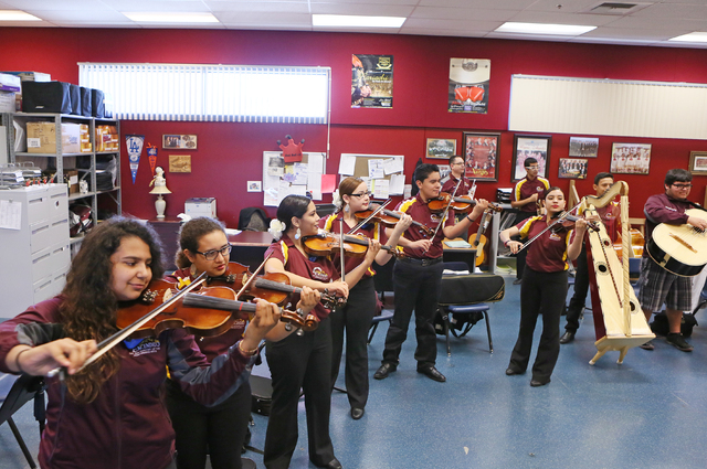 Students rehearsal in Mariachi class at Del Sol Academy of the Performing Arts Thursday, Feb. 11, 2016, in Las Vegas. Ronda Churchill/Las Vegas Review-Journal