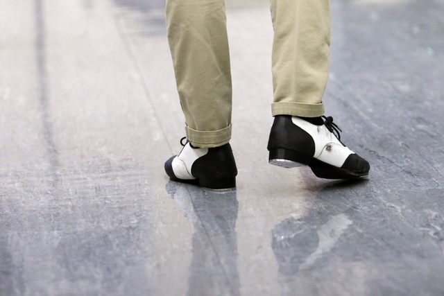 Student Jackson Langford walks in his wing tip tap shoes in Chris Harperճ tap class at Faith Lutheran Middle School and High School Wednesday, Feb. 10, 2016, in Las Vegas. The performing art ...