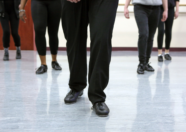 Students tap dance in Chris Harperճ tap class at Faith Lutheran Middle School and High School Wednesday, Feb. 10, 2016, in Las Vegas. The performing arts school offers a range of traditional ...