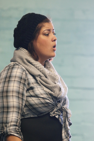 Academy singer Paulette Kenney, 18, rehearses in Megan Franke's choir class at Las Vegas Academy of the Arts Thursday, Feb. 11, 2016, in Las Vegas. Ronda Churchill/Las Vegas Review-Journal