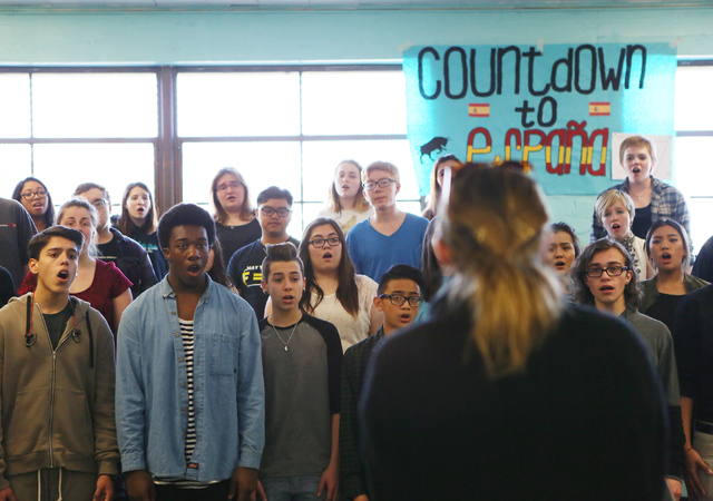 Academy singers rehearse in Megan Franke's choir class at Las Vegas Academy of the Arts Thursday, Feb. 11, 2016, in Las Vegas. Ronda Churchill/Las Vegas Review-Journal
