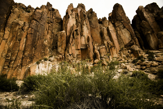 Rock formations is seen Wednesday, May 20, 2015, along the  Wrong Way Canyon road in the White River Narrows area, about 130 miles north of Las Vegas. Over 800,000 acres in central Nevada is propo ...