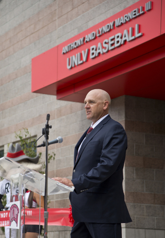 UNLV baseball head coach Stan Stolte speaks during a ribbon cutting ceremony for the new Anthony and Lyndy Marnell III Baseball Clubhouse on the UNLV campus on Monday, March 7, 2016. Daniel Clark/ ...