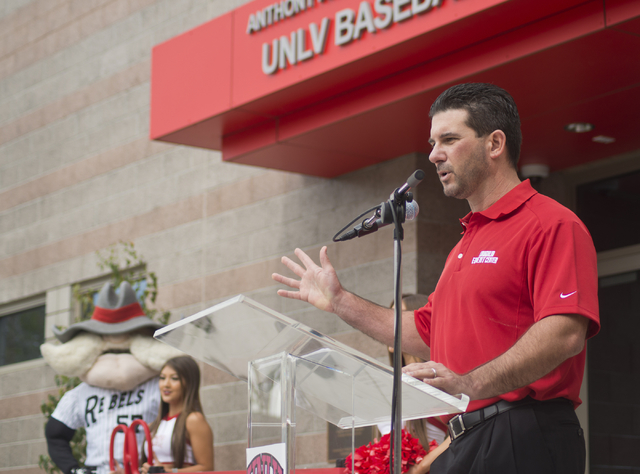 President of the M Resort Anthony Marnell III speaks during a ribbon cutting ceremony for the new Anthony and Lyndy Marnell III Baseball Clubhouse on the UNLV campus on Monday, March 7, 2016. Dani ...