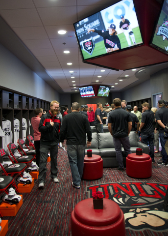 Media and invited guests tour the new Anthony and Lyndy Marnell III Baseball Clubhouse during a ribbon cutting ceremony on the UNLV campus on Monday, March 7, 2016. Daniel Clark/Las Vegas Review-J ...