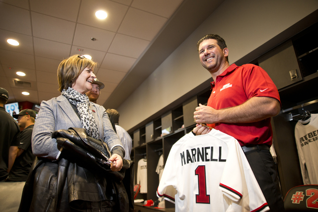 President of the M Resort Anthony Marnell III, right, tours the new Anthony and Lyndy Marnell III Baseball Clubhouse with UNLV Athletic Director Tina Kunzer-Murphy during a ribbon cutting ceremony ...