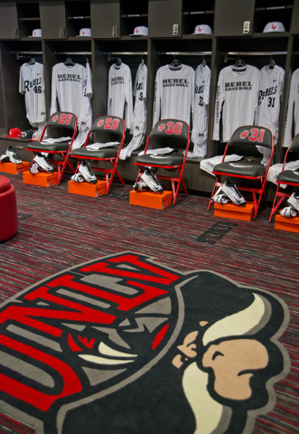 The locker room is seen during a ribbon cutting ceremony for the new Anthony and Lyndy Marnell III Baseball Clubhouse on the UNLV campus on Monday, March 7, 2016. Daniel Clark/Las Vegas Review-Jou ...