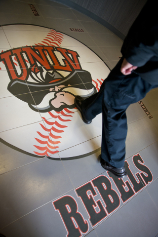 A baseball logo is seen on the tile during a ribbon cutting ceremony for the new Anthony and Lyndy Marnell III Baseball Clubhouse on the UNLV campus on Monday, March 7, 2016. Daniel Clark/Las Vega ...
