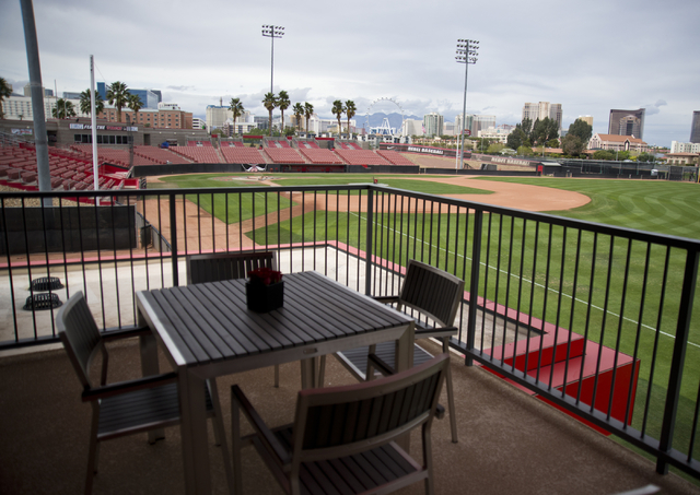 A balcony on the second floor of the new Anthony and Lyndy Marnell III Baseball Clubhouse overlooks the Earl E. Wilson Baseball Stadium during a ribbon cutting ceremony on the UNLV campus on Monda ...