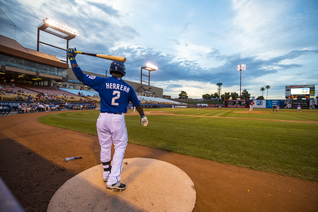 Dilson Herrera, 2, of the Las Vegas 51's, warms up during baseball action against the Albuquerque Isotopes at Cashman Field in Las Vegas on Sunday, July 5, 2015. (Joshua Dahl/Las Vegas Review-Journal)