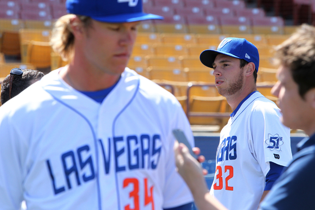 Las Vegas 51s players Noah Syndergaard (34), left, and Steven Matz (32), are interviewed during media day at Cashman Field in Las Vegas Tuesday, April 7, 2015. (Erik Verduzco/Las Vegas Review-Jour ...