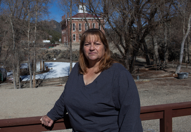 Donna Motis stands on her deck with a view of the Belmont Courthouse in Belmont, Nev., on Wednesday, March 2, 2016. The courthouse was built in 1876. Randi Lynn Beach/Las Vegas Review-Journal
