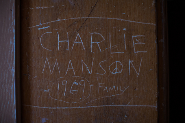 Graffiti inside the Belmont Courthouse in Belmont, Nev., is shown on Wednesday, March 2, 2016. ҅very time Manson comes up for parole, people flock to the courthouse to take pictures of that  ...