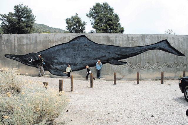 This wall, located in the fossil shelter parking area of Berlin-Ichthyosaur State Park, shows visitors what an Ichthyosaur might have looked like. (Las Vegas Review-Journal file)