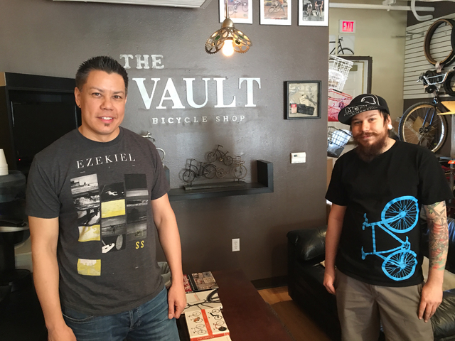 Mike Skoy, left, and Chris Bernardi pose for a photo inside The Vault Bicycle Shop, 7575 Norman Rockwell Lane, No. 120, Feb. 24. Sandy Lopez/View