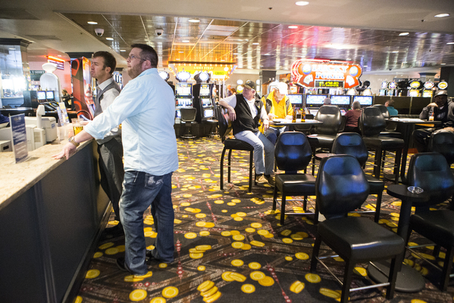 Brian Held, left, and Brian Zelasney, place a bid on a NCAA tournament game at The D sports book on Tuesday, March 15, 2016, in Las Vegas. Erik Verduzco/Las Vegas Review-Journal Follow @Erik_Verduzco