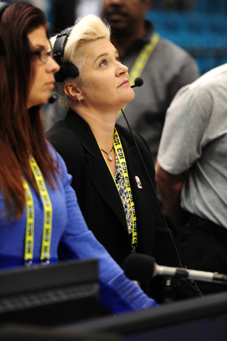 Public address announcer Jaime Coffee is seen before the start of a Pac 12 Conference Tournament quarterfinal game between USC and UCLA at the MGM Grand Garden Arena in Las Vegas Wednesday, March  ...