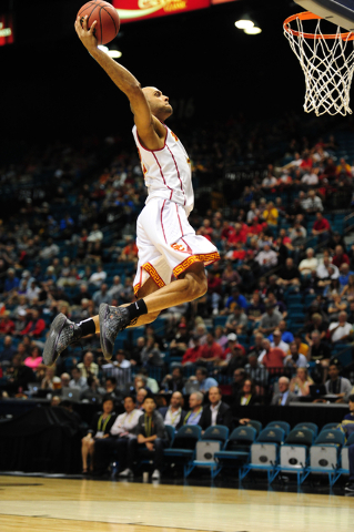 USC guard Julian Jacobs dunks against UCLA in the first half of their Pac 12 Conference Tournament quarterfinal game at the MGM Grand Garden Arena in Las Vegas Wednesday, March 9, 2016. USC defeat ...