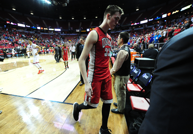 UNLV forward Stephen Zimmerman Jr. (33) walks off the floor after their 95-82 loss to Fresno State during their Mountain West Conference semifinal basketball game at the Thomas & Mack Center i ...