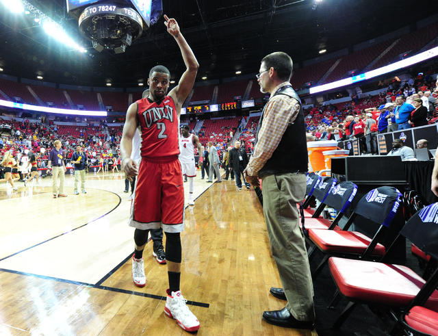 UNLV guard Jerome Seagears (2) walks off the floor after their 95-82 loss to Fresno State during their Mountain West Conference semifinal basketball game at the Thomas & Mack Center in Las Veg ...