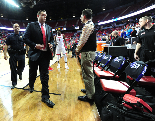 UNLV interim head coach Todd Simon walks off the floor after their 95-82 loss to Fresno State during their Mountain West Conference semifinal basketball game at the Thomas & Mack Center in Las ...