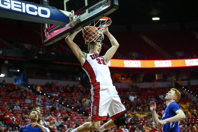 UNLV Rebels forward Stephen Zimmerman Jr. (33) dunks against Air Force during the Mountain West Conference basketball tournament at the Thomas & Mack Center in Las Vegas on Wednesday, March 9, ...