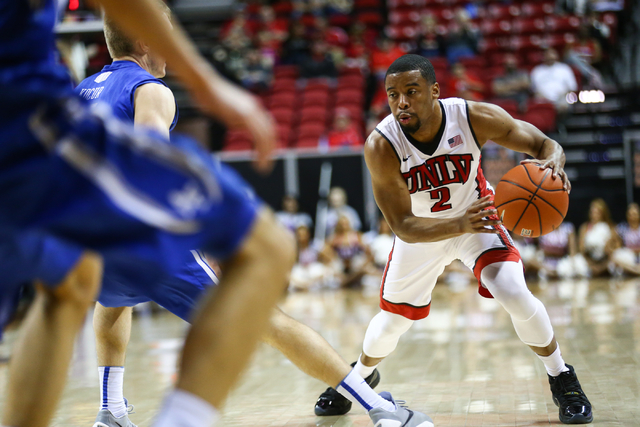 UNLV Rebels guard Jerome Seagears (2) drives against Air Force during the Mountain West Conference basketball tournament at the Thomas & Mack Center in Las Vegas on Wednesday, March 9, 2016. C ...