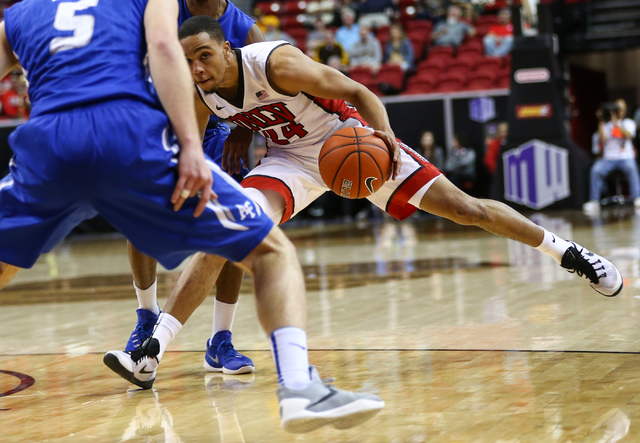 UNLV Rebels guard Jalen Poyser (24) drives against Air Force during the Mountain West Conference basketball tournament at the Thomas & Mack Center in Las Vegas on Wednesday, March 9, 2016. Cha ...