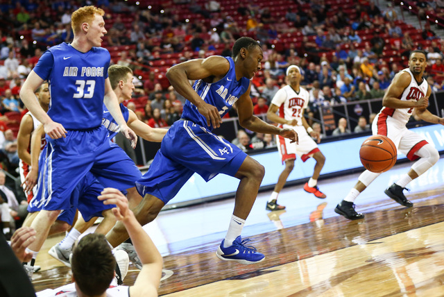 Air Force Falcons guard CJ Siples (2) runs the ball up court against UNLV during the Mountain West Conference basketball tournament at the Thomas & Mack Center in Las Vegas on Wednesday, March ...