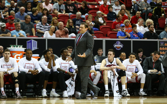 UNLV interim head coach Todd Simon reacts as his team plays Air Force during the Mountain West Conference basketball tournament at the Thomas & Mack Center in Las Vegas on Wednesday, March 9,  ...