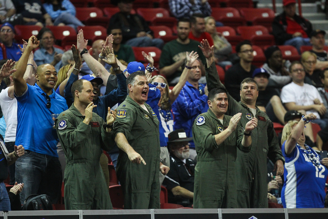 Air Force fans react as their team plays UNLV during the Mountain West Conference basketball tournament at the Thomas & Mack Center in Las Vegas on Wednesday, March 9, 2016. UNLV won 108-102 i ...