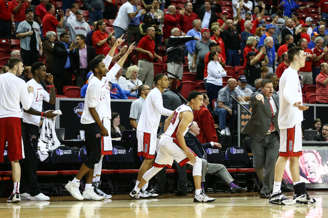 UNLV players react as the team plays Air Force during the Mountain West Conference basketball tournament at the Thomas & Mack Center in Las Vegas on Wednesday, March 9, 2016. UNLV won 108-102  ...