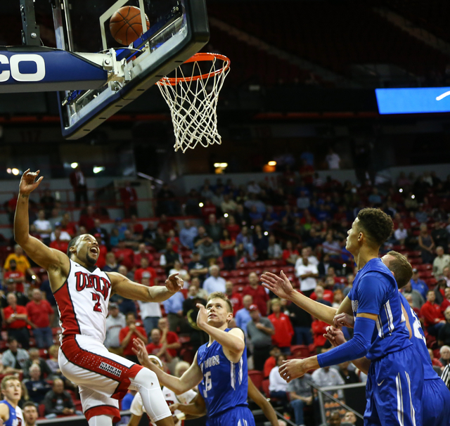 UNLV Rebels guard Jerome Seagears (2) watches his shot go in against Air Force during the Mountain West Conference basketball tournament at the Thomas & Mack Center in Las Vegas on Wednesday,  ...