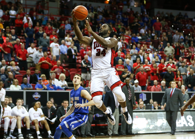 UNLV Rebels guard Ike Nwamu (34) goes up to score against Air Force during the Mountain West Conference basketball tournament at the Thomas & Mack Center in Las Vegas on Wednesday, March 9, 20 ...