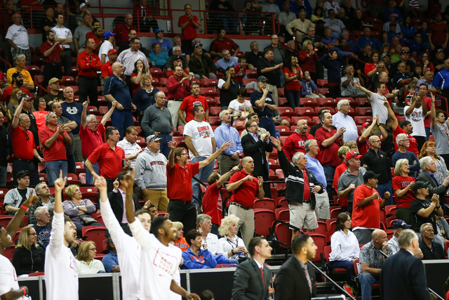 UNLV fans cheer as the team plays Air Force during the Mountain West Conference basketball tournament at the Thomas & Mack Center in Las Vegas on Wednesday, March 9, 2016. UNLV won 108-102 in  ...
