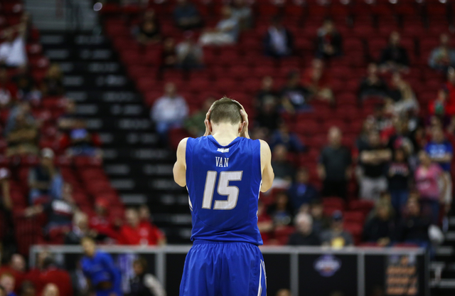 Air Force Falcons guard Jacob Van (15) reacts as his team trails UNLV during the Mountain West Conference basketball tournament at the Thomas & Mack Center in Las Vegas on Wednesday, March 9,  ...