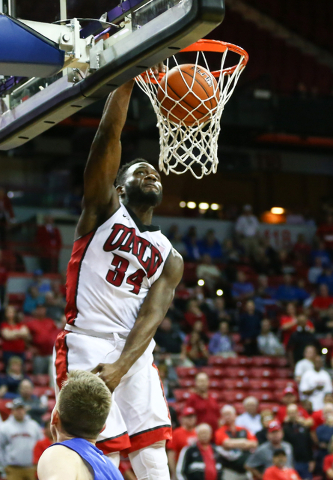 UNLV Rebels guard Ike Nwamu (34) goes up for a dunk in the final seconds of their game against Air Force during the Mountain West Conference basketball tournament at the Thomas & Mack Center i ...
