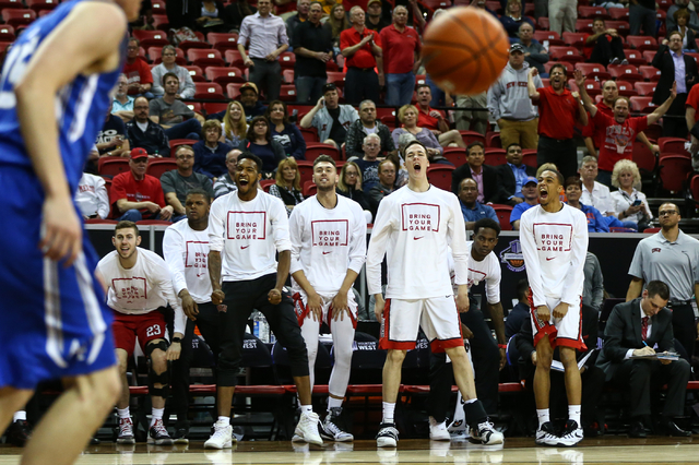 UNLV players react as the team goes on to defeat Air Force during the Mountain West Conference basketball tournament at the Thomas & Mack Center in Las Vegas on Wednesday, March 9, 2016. UNLV  ...