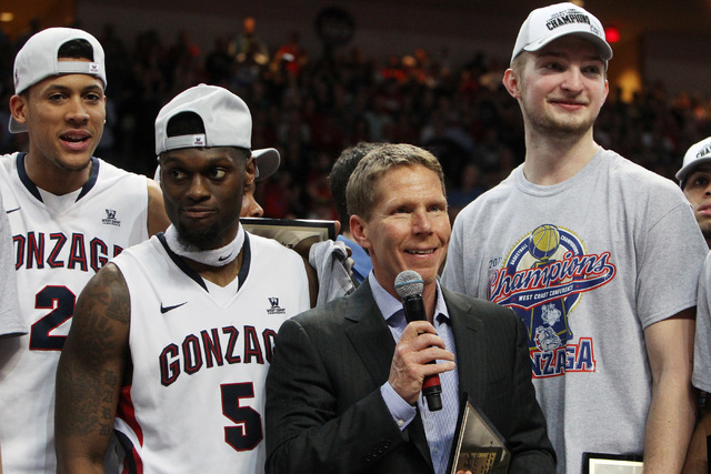 Gonzaga head coach Mark Few speaks during the awards ceremony after their West Coast Conference championship game against BYU Tuesday, March 10, 2015, at the Orleans Arena. Gonzaga won 91-75. (Sam ...